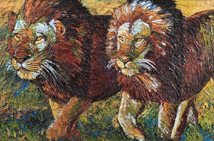Coppia di leoni